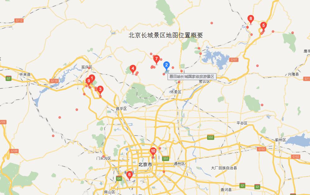 北京各个长城经典位置标记图